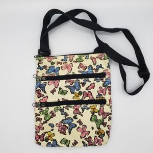 3/$20 Butterfly colorful zip canvas shoulder bag